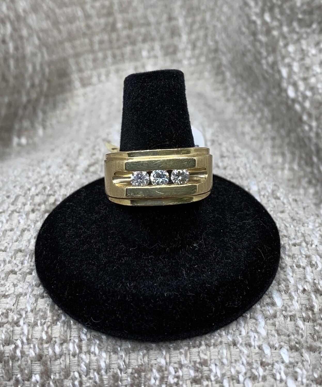 Men's 3 Diamond 14kt Gold Ring