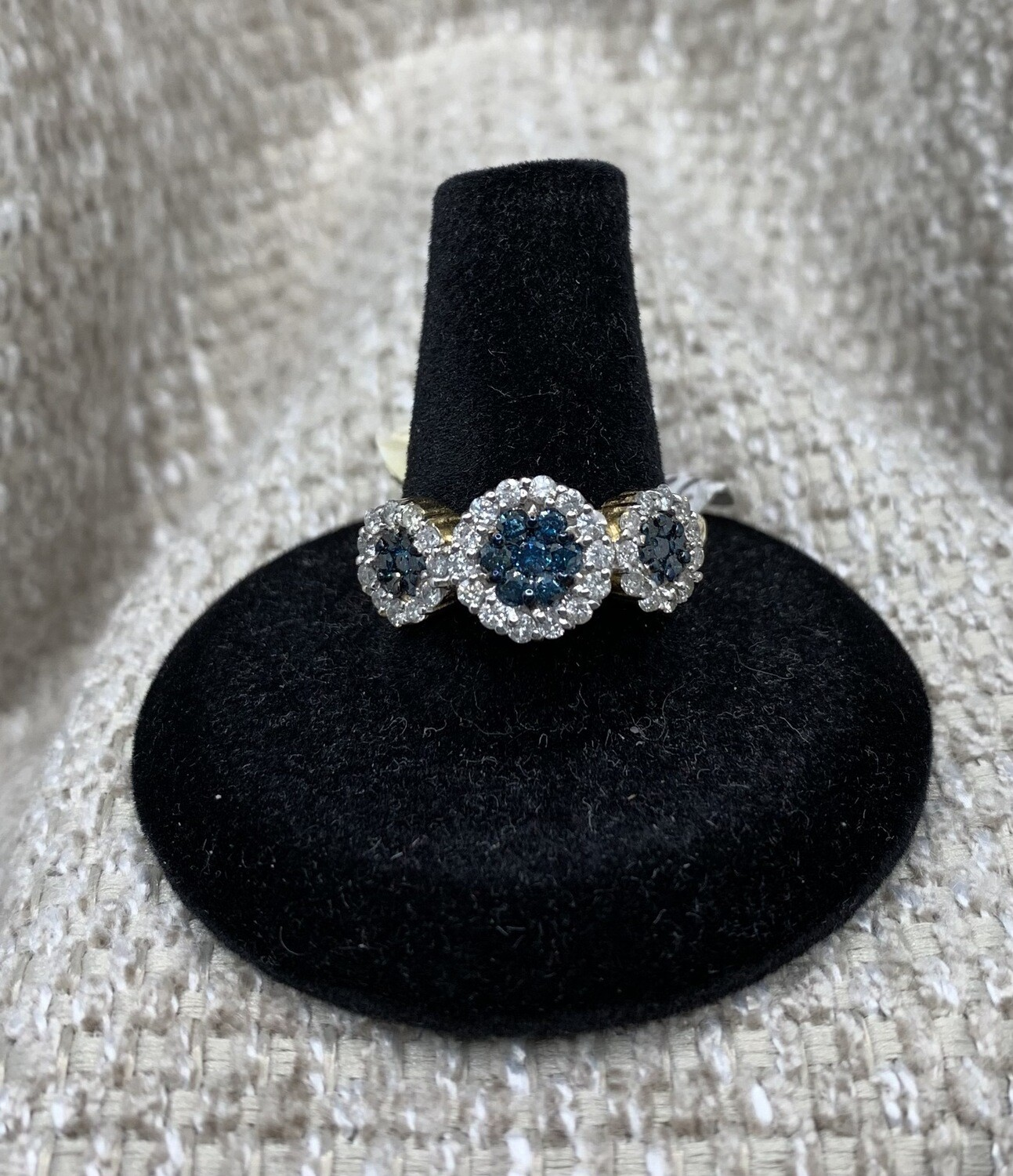 1ct Blue And White Diamond Flower Cluster Ring