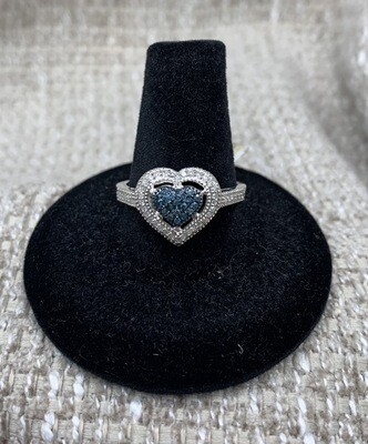 1/4 Ct Blue And White Diamond Ring