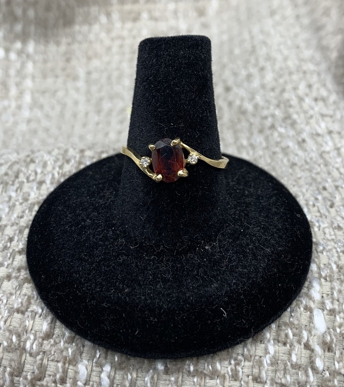 Dainty 14kt Gold Garnet With Diamond Accents Ring