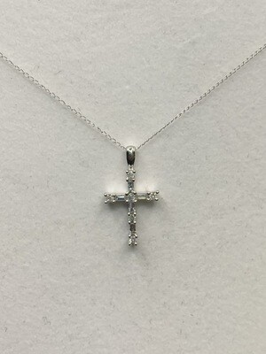 1/4 Ct Total Weight Diamond Cross Necklace