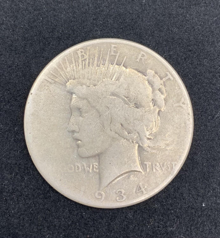 1934 Silver Peace Dollar San Francisco Mint