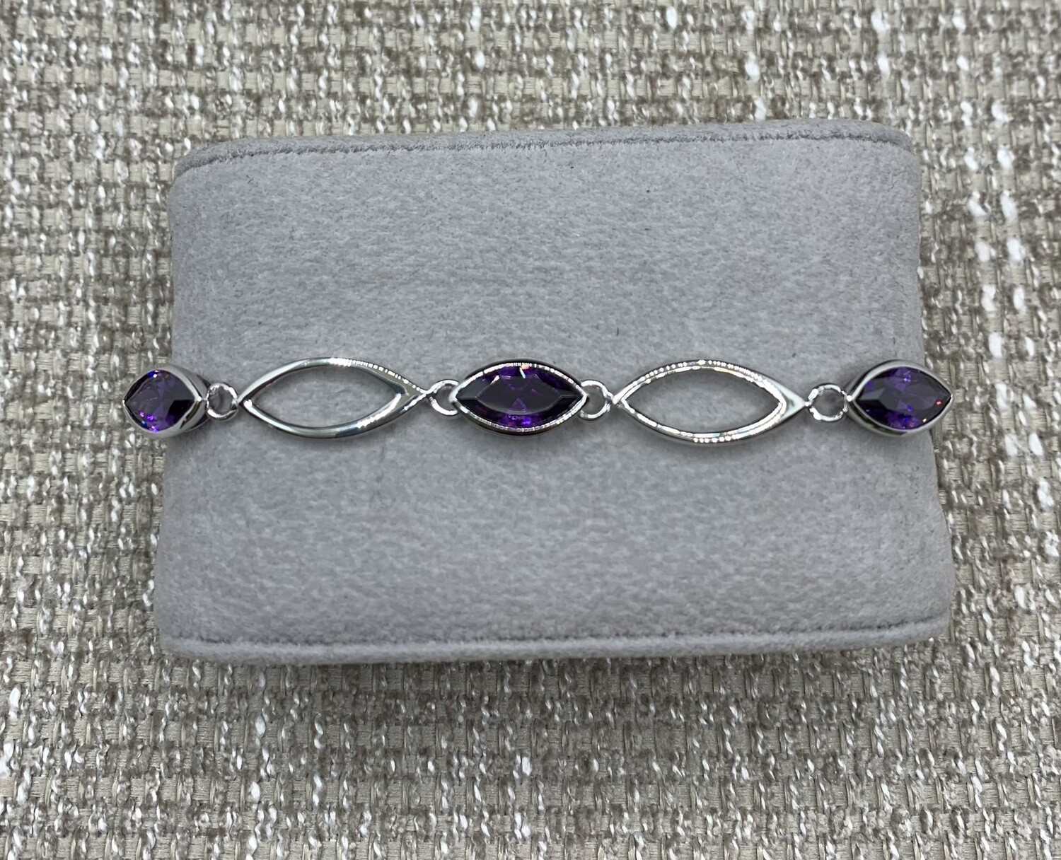 Sterling Silver Marquis Lavender Synthetic Bracelet