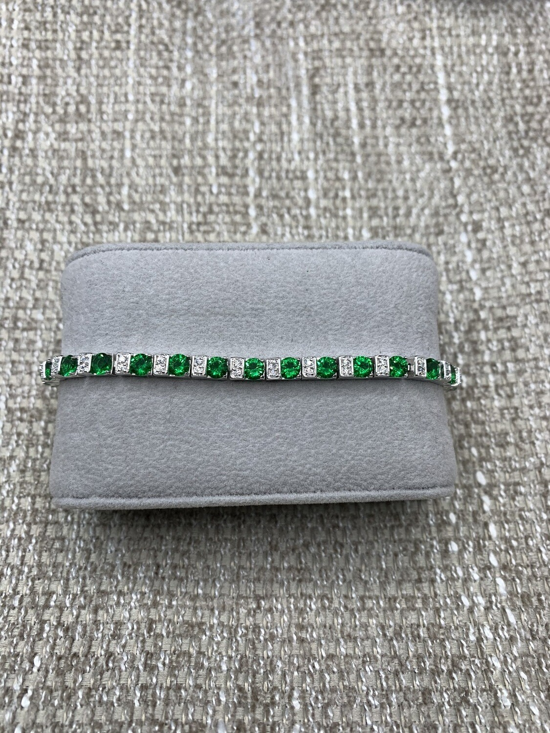 Sterling Silver Ladies Synthetic Emerald CZ Tennis Bracelet