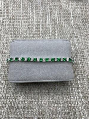 Sterling Silver Ladies Synthetic Emerald CZ Tennis Bracelet