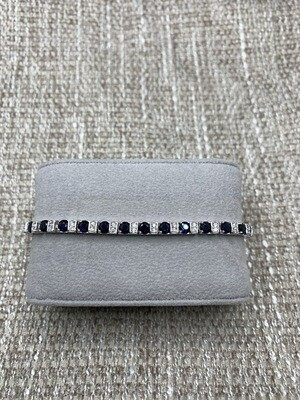 Sterling Silver Synthetic Sapphire Tennis Bracelet