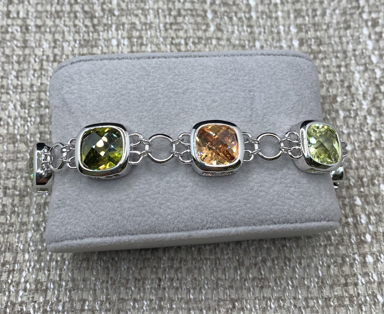 Multi Color Synthetic Gemstone Sterling Silver Bracelet