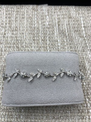 Sterling Silver CZ Flower Vine Bracelet
