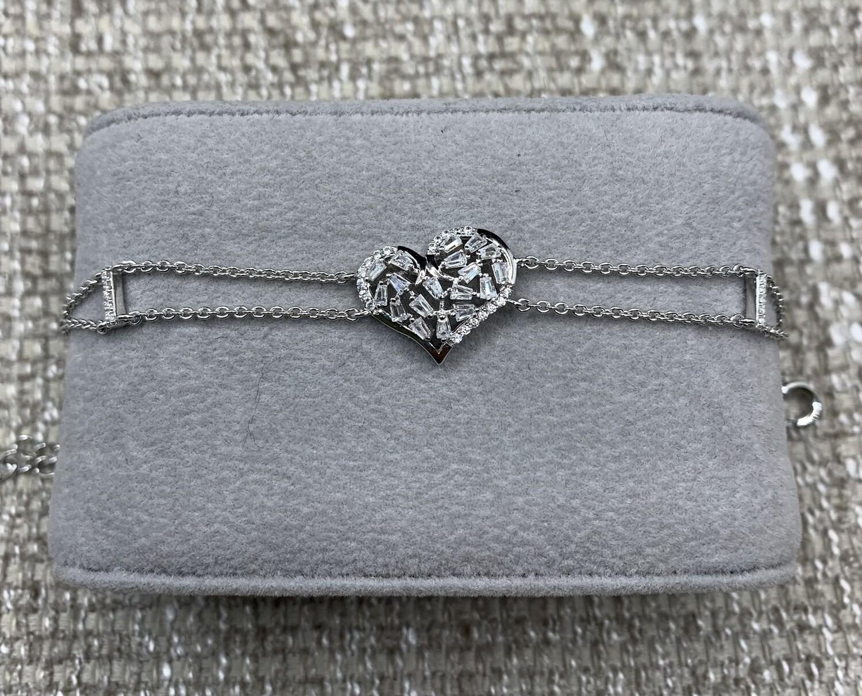 CZ Sterling Silver Heart Bracelet