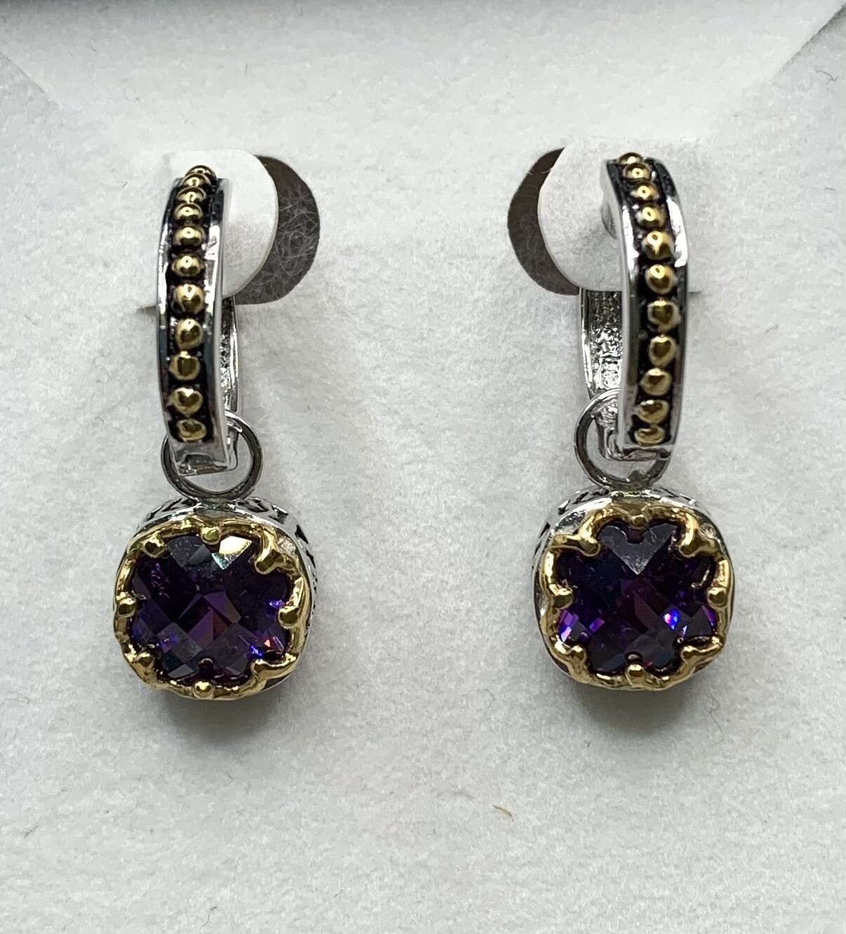 Two Tone Sterling Silver Synthetic Amethyst Hangin Earrings