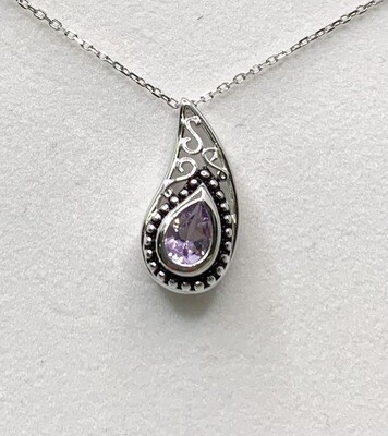 Paisley Genuine Amethyst Sterling Silver Pendant