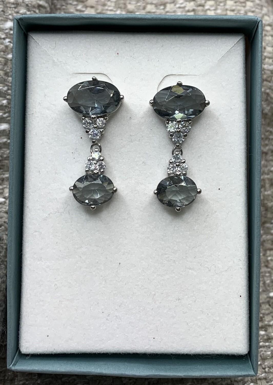 Sterling Silver Synthetic Smokey Gem Dangling Earrings