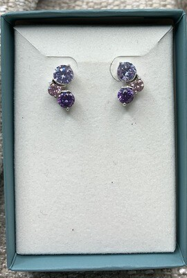 Pink Lilac Purple Synthetic Gem Trio Post Earrings