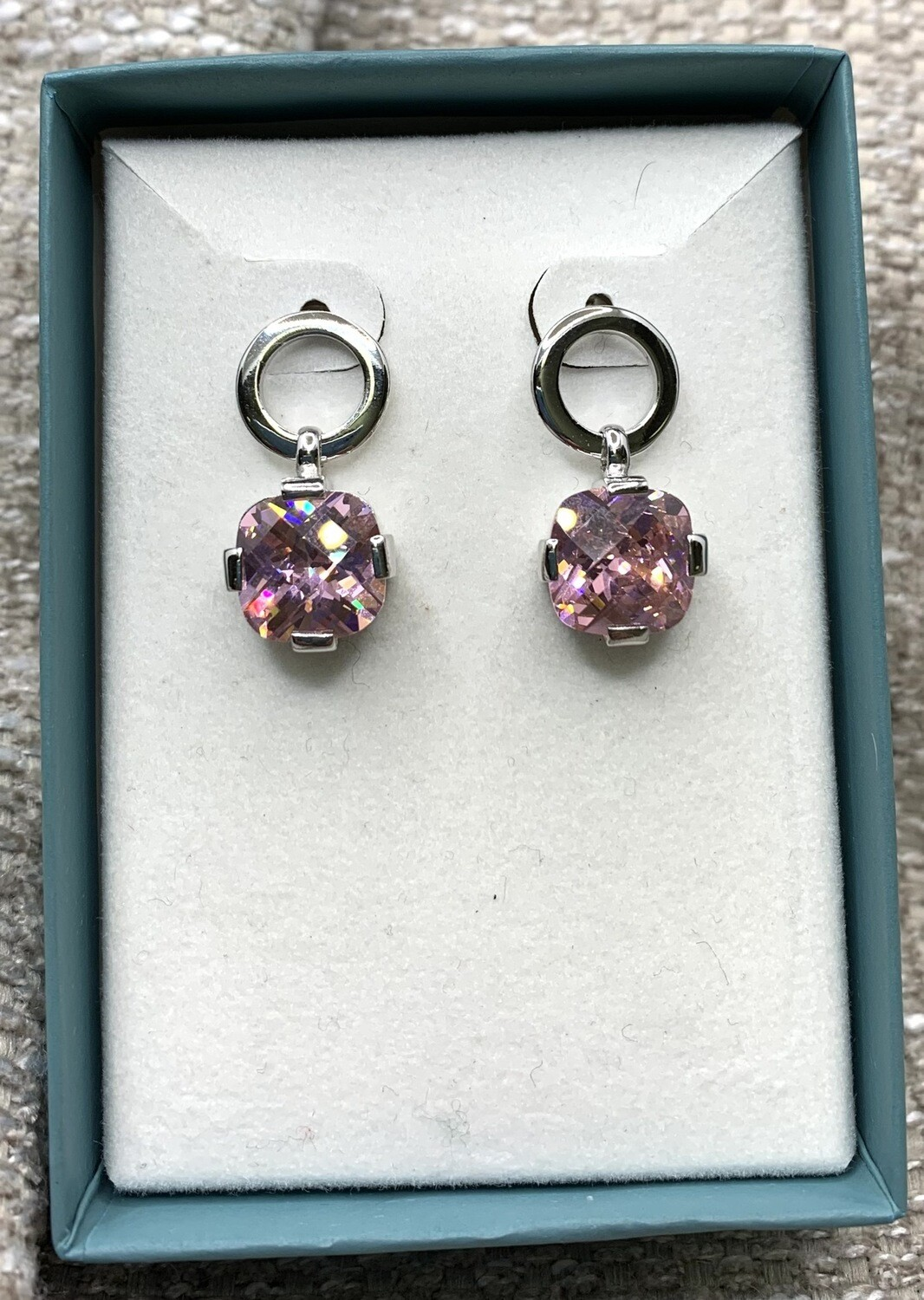 Sterling Silver Synthetic Pink Hanging Post Earrings