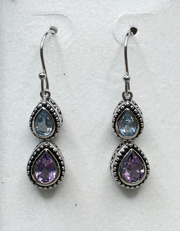 Sterling Silver Genuine Amethyst Hanging Earrings