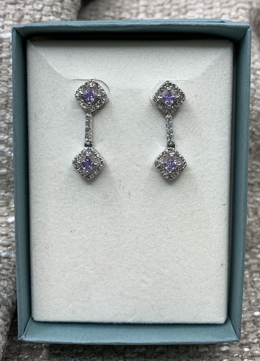 Sterling Silver Dangling Post Synthetic Lilac Gem Earrings