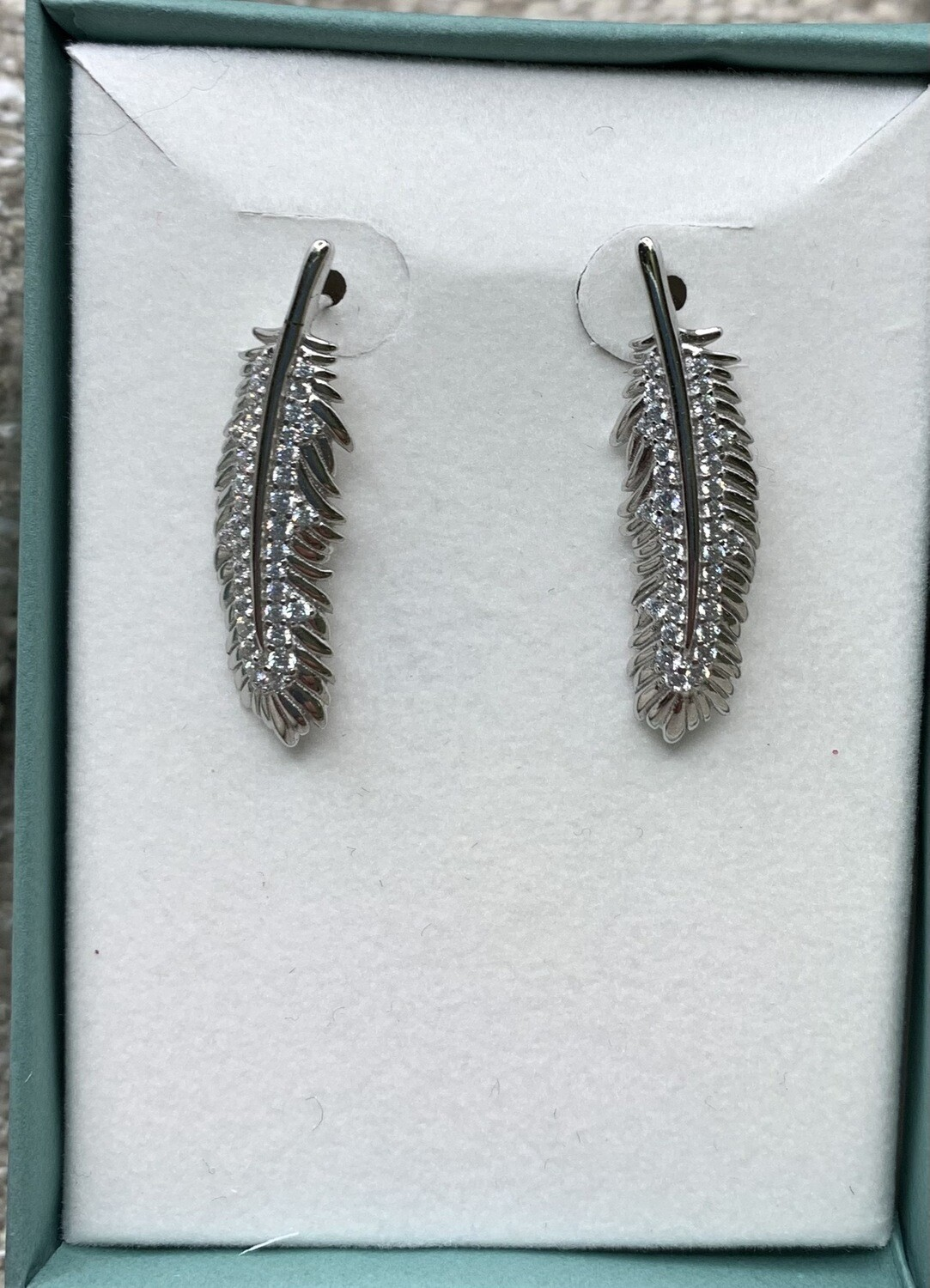 Sterling Silver Glittery Feather Earrings