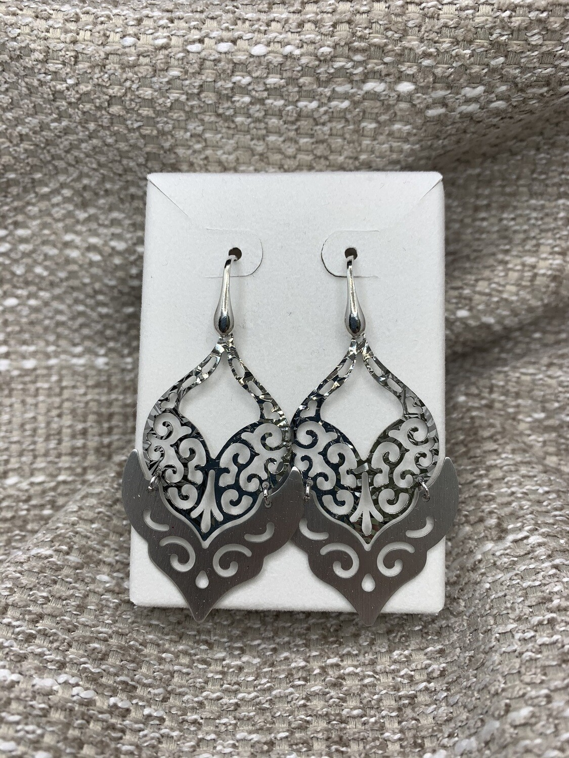 Hanging Sterling Silver Swirl Earrings Brushed And Polished Look