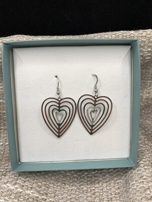 Concentric Hearts Sterling Silver Earrings