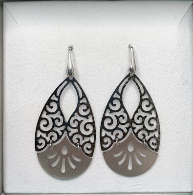 Sterling Silver Brushed And Polished Swirl Earrings