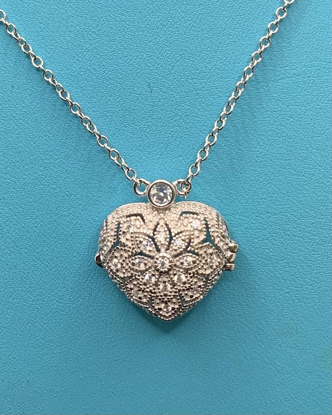 CZ Heart Sterling Silver Locket