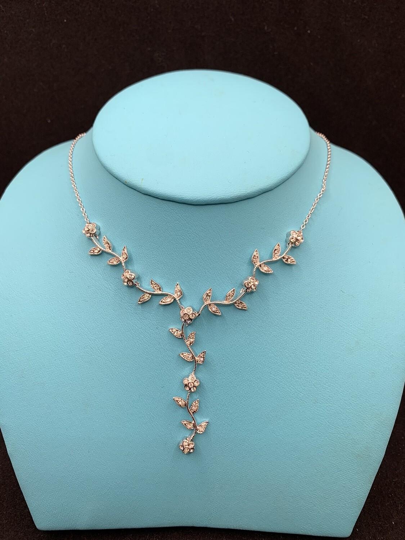 CZ Flowering Vine Sterling Silver Necklace