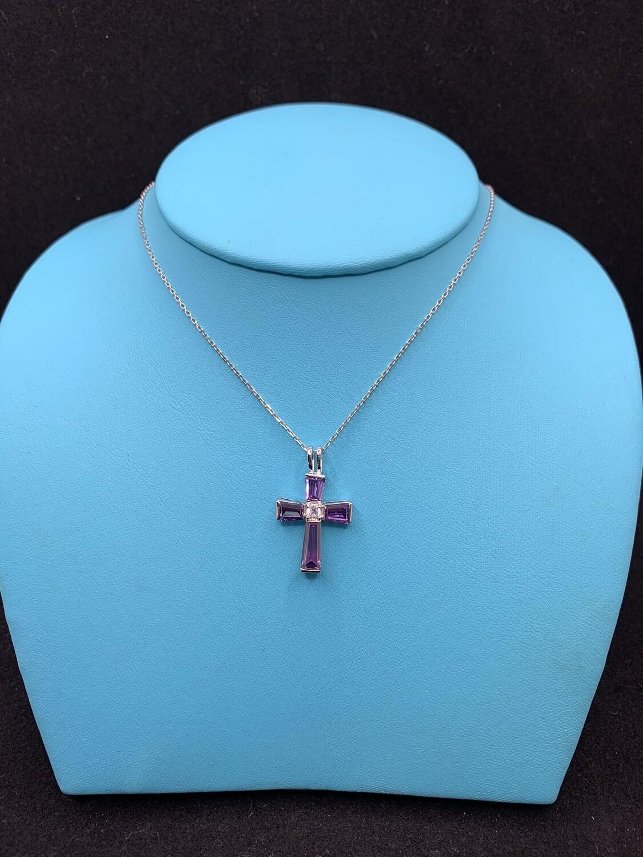 Synthetic Purple Gemstone CZ Sterling Silver Cross