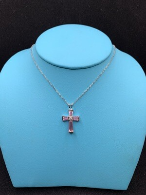 Synthetic Pink Gems And CZ Sterling Silver Cross
