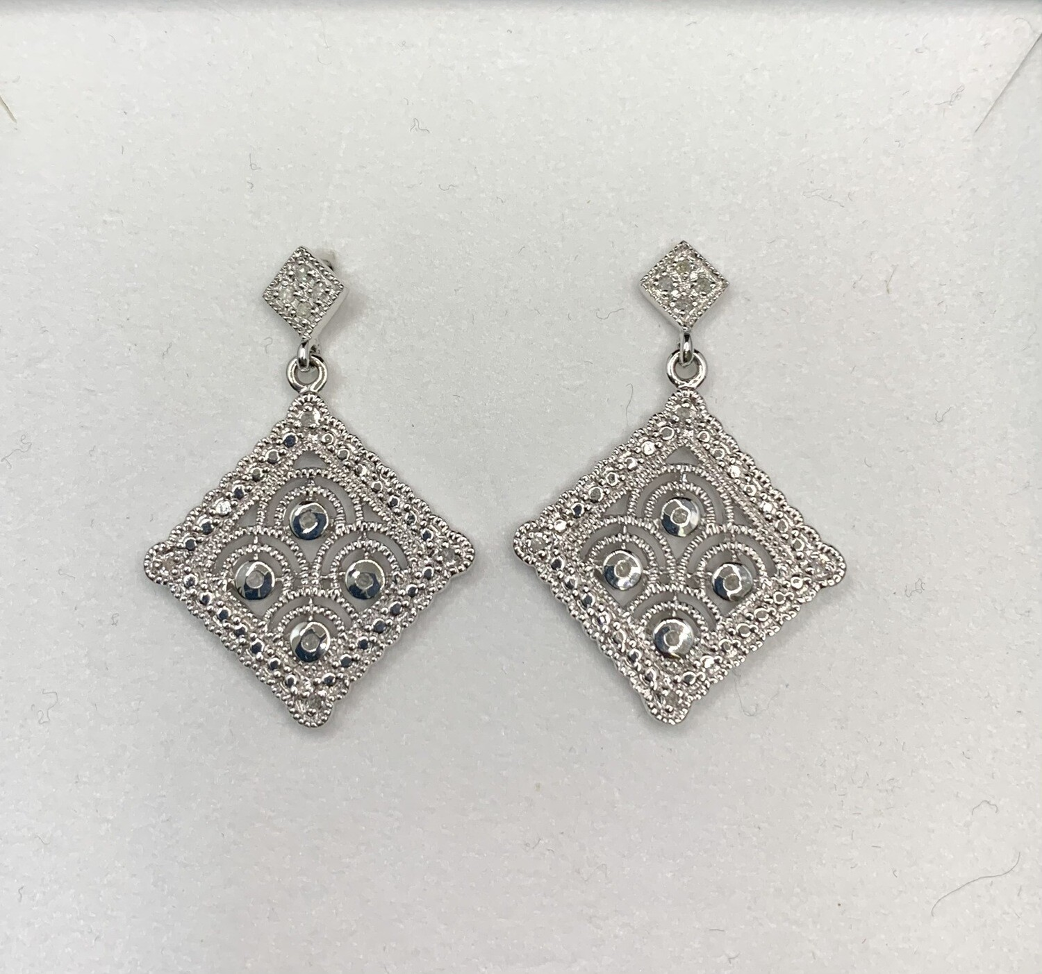 Square Filigree Sterling Silver With Diamond Accents Hanging Post Earrings