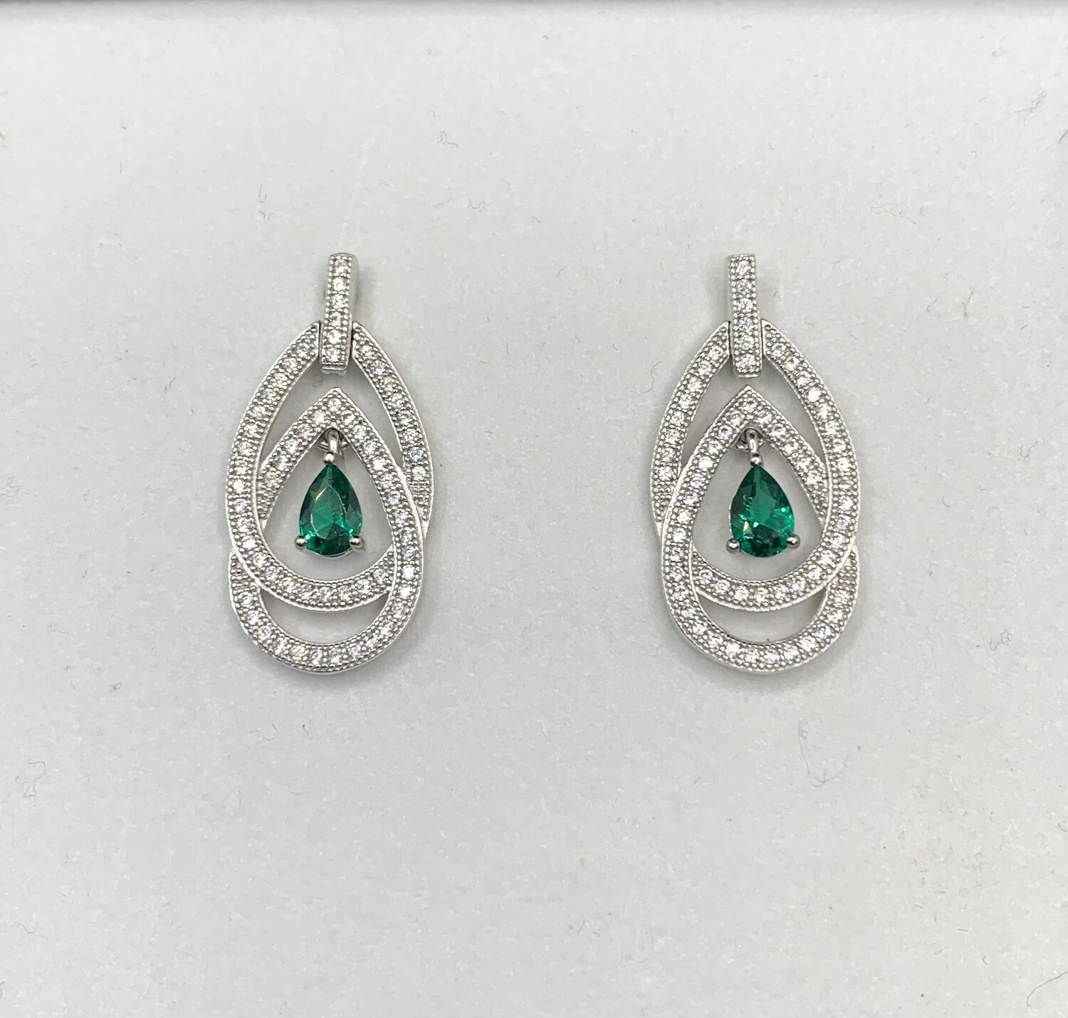 Synthetic Emerald Gems And CZ Drops Post Earrings