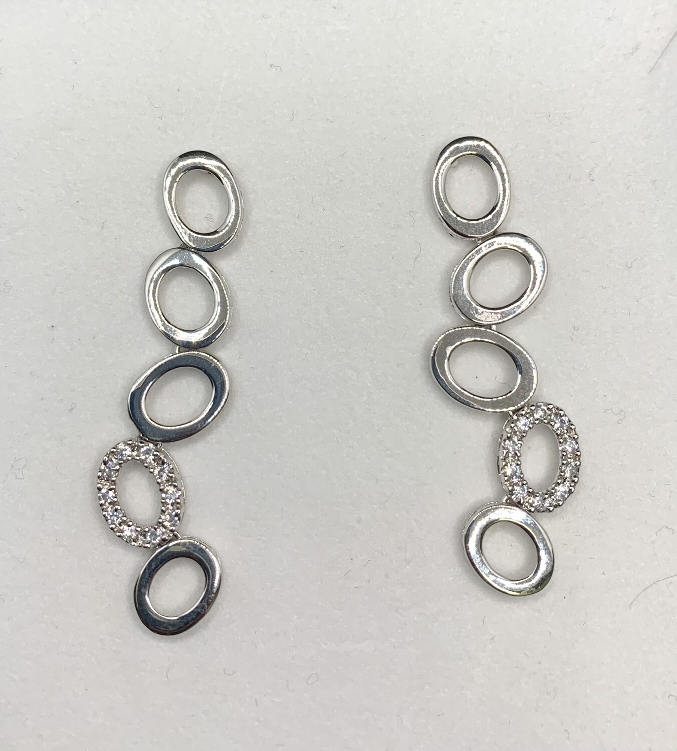 Hanging Sterling Silvers Os With CZ Accents Earrings