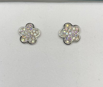 CZ Sterling Silver Sparkling Flowers Post Earrings