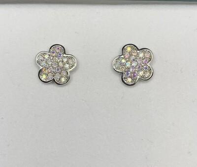 CZ Sterling Silver Sparkling Flowers Post Earrings