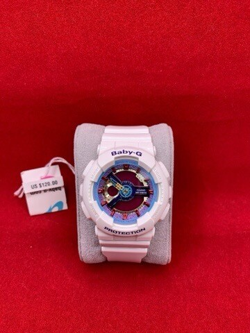 Women's Baby-G Casio G-Shock White With Pink Purple Blue Face
