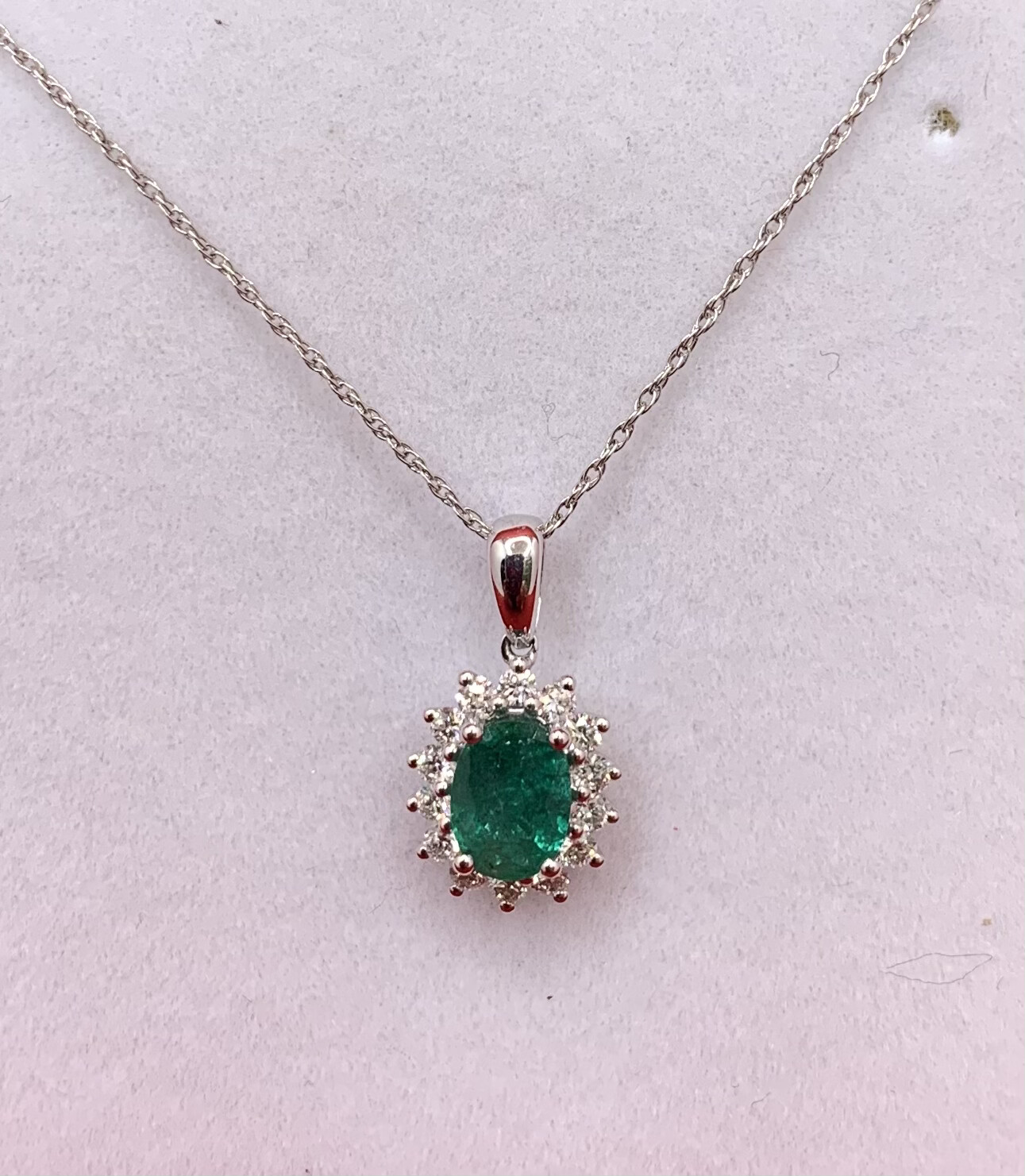 Oval Emerald With Diamond Halo Necklace