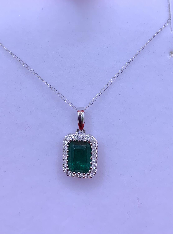 Emerald Cut Emerald Diamond Halo Necklace