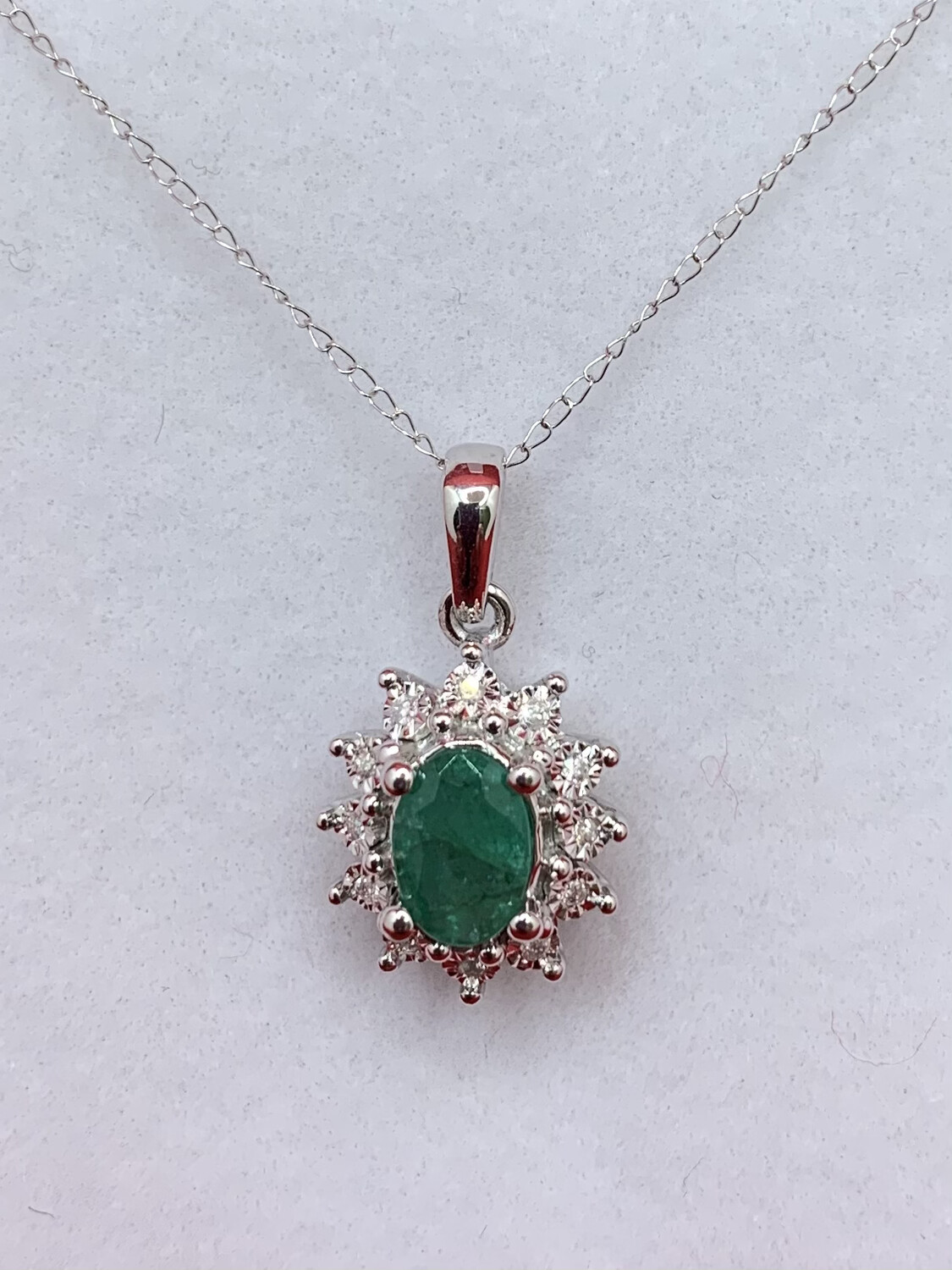 Oval Emerald Halo Necklace