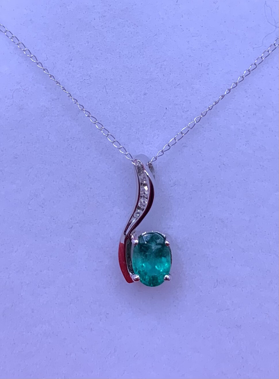 Asymmetrical Oval Emerald With Diamond Accents Necklace