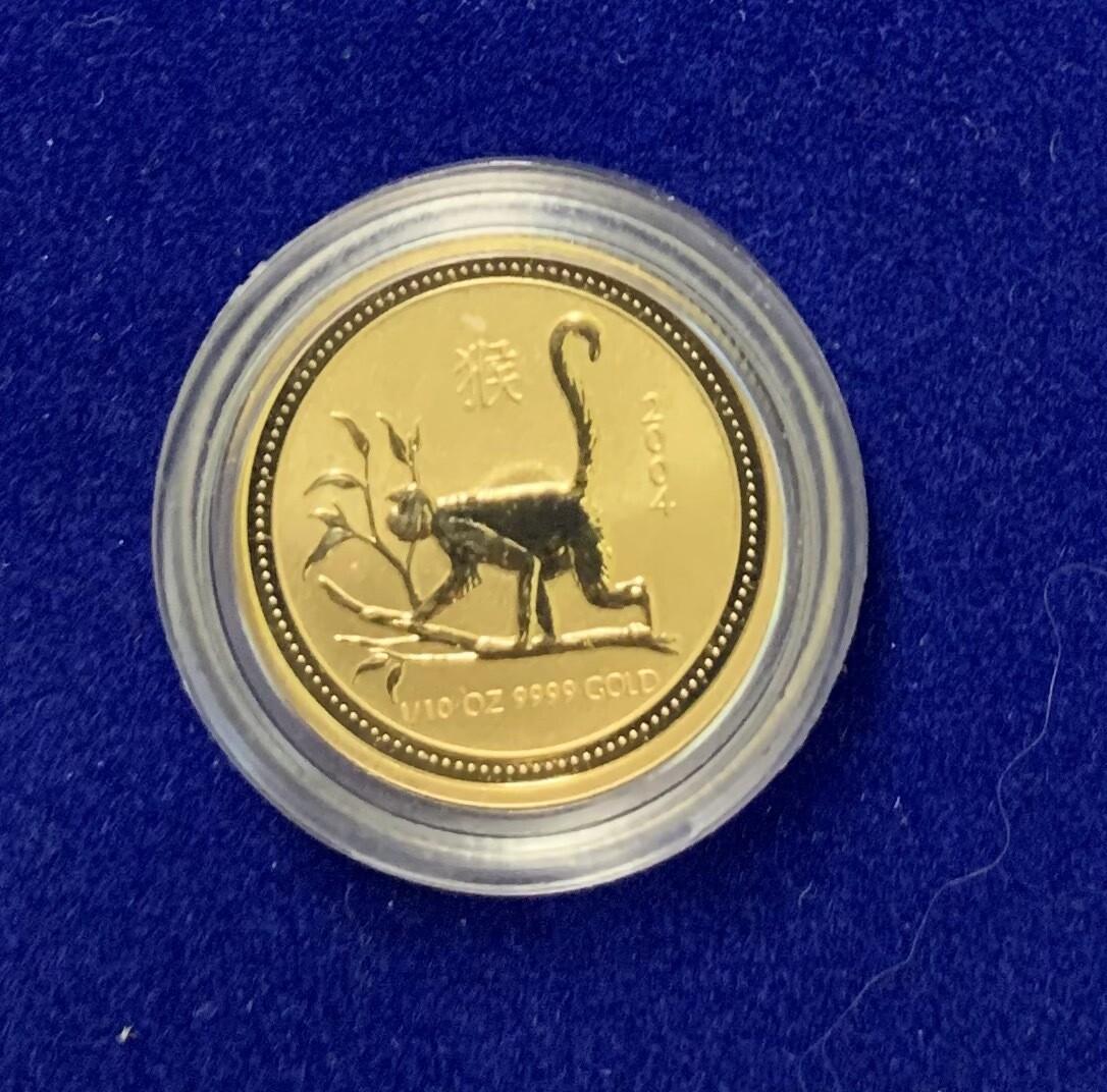 2004 Australian 1/10 Oz Gold Monkey Coin