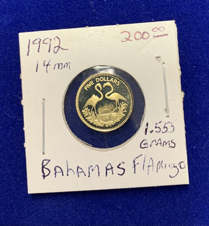 1992 Bahamas Flamingo Gold Coin 1.555 Grams 14mm