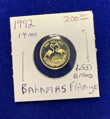 1992 Bahamas Flamingo Gold Coin 1.555 Grams 14mm