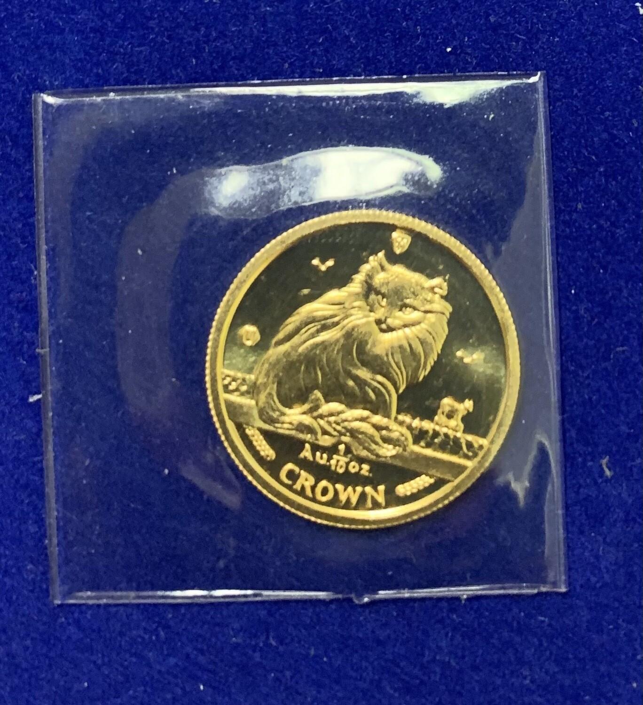 1995 Isle Of Man Long Hair Cat 1/10 Oz Gold Crown Coin