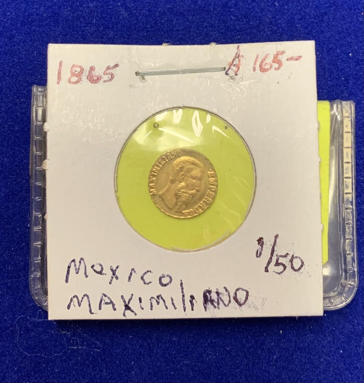 1865 Mexico Gold Peso Emperor Maximiliano Coin