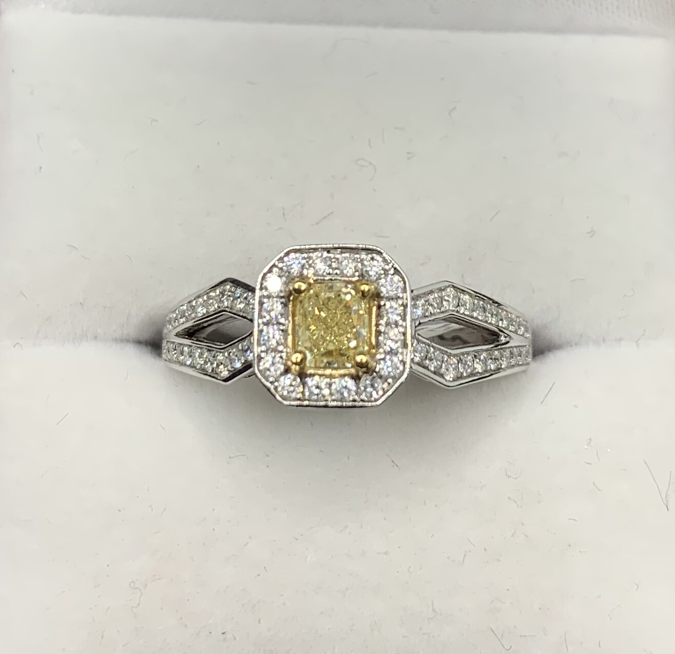 Yellow Diamond With Halo And Diamond Accent Band