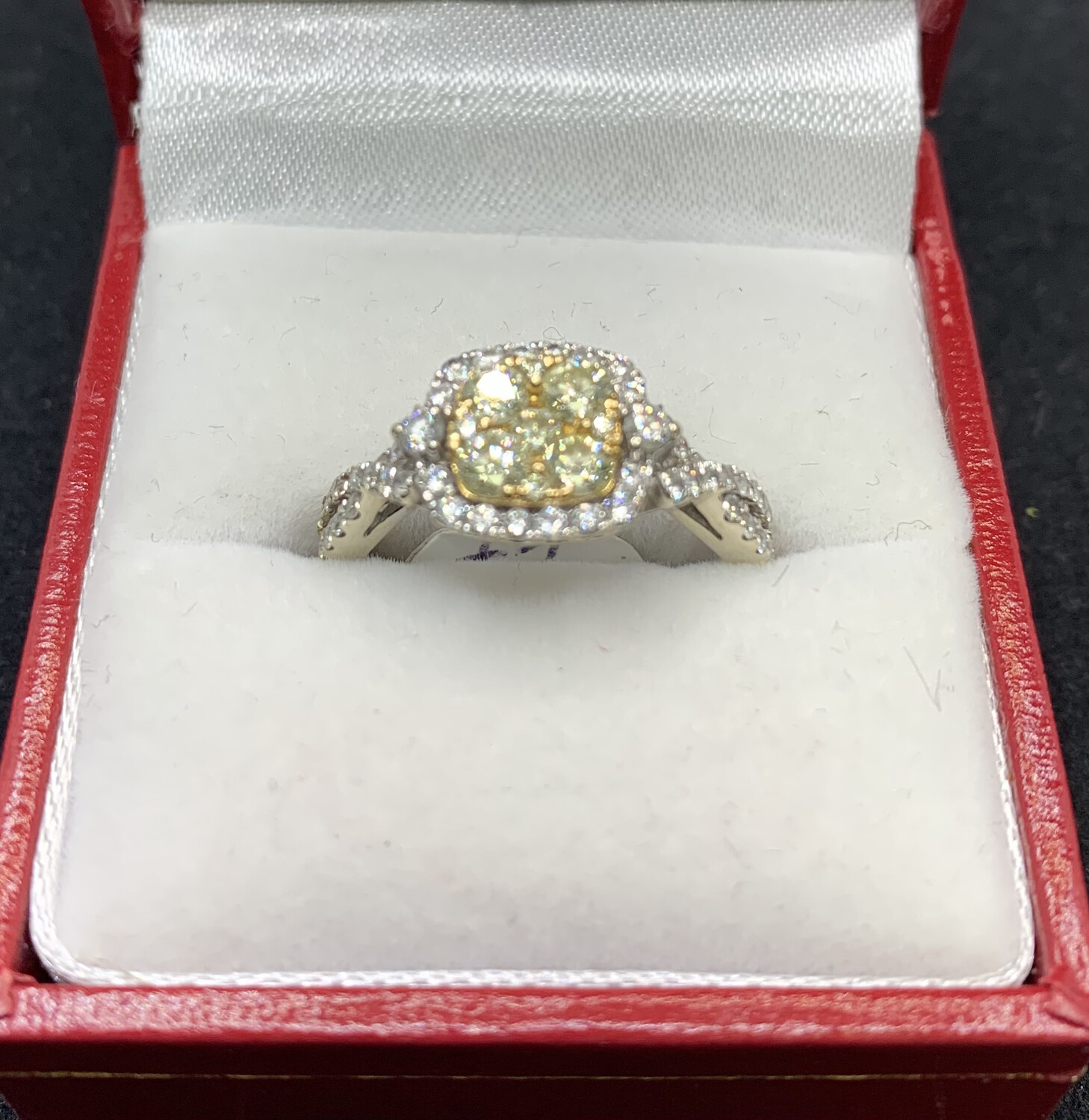 Yellow Diamond Cluster With Diamond Halo And Twisted Band