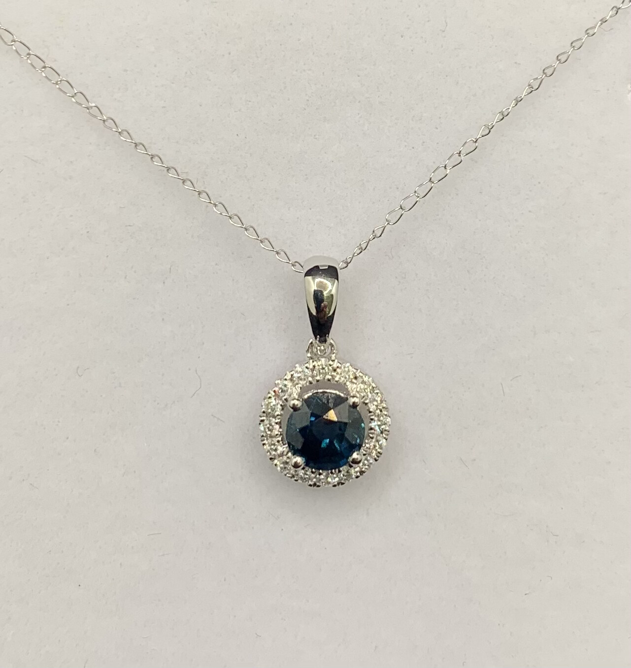 Round Sapphire With Diamond Accents Necklace