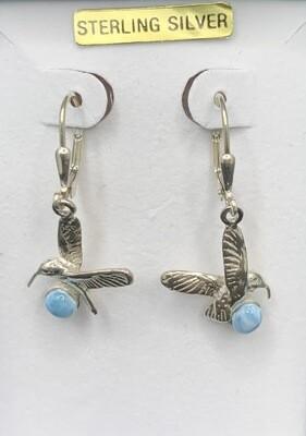 Larimar Sterling Silver Hummingbird Earrings