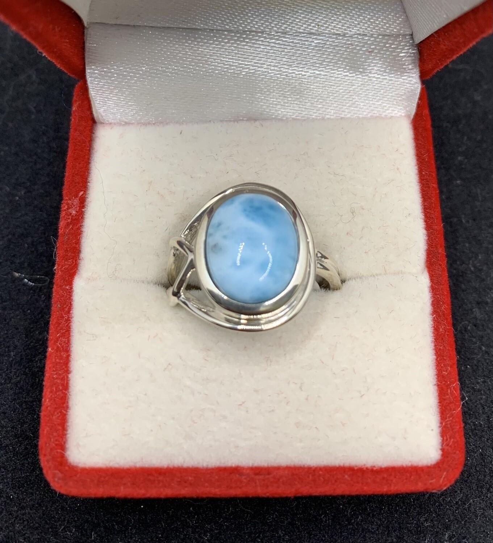 Asymmetrical Oval Larimar Sterling Silver Fashion Ring
