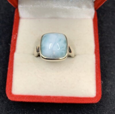 Square Larimar Sterling Silver Fashion Ring