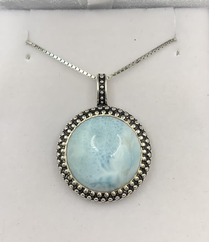 Round Statement Larimar Pendant Sterling Silver Necklace